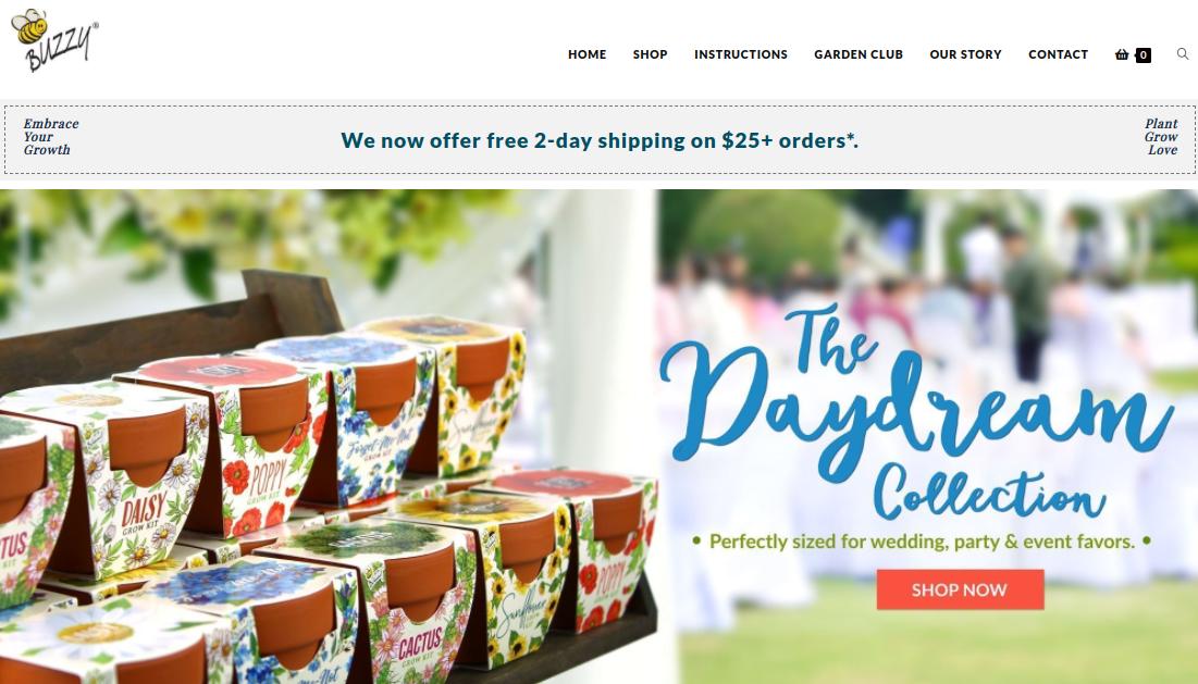 screenshot of the Buzzy Seeds website