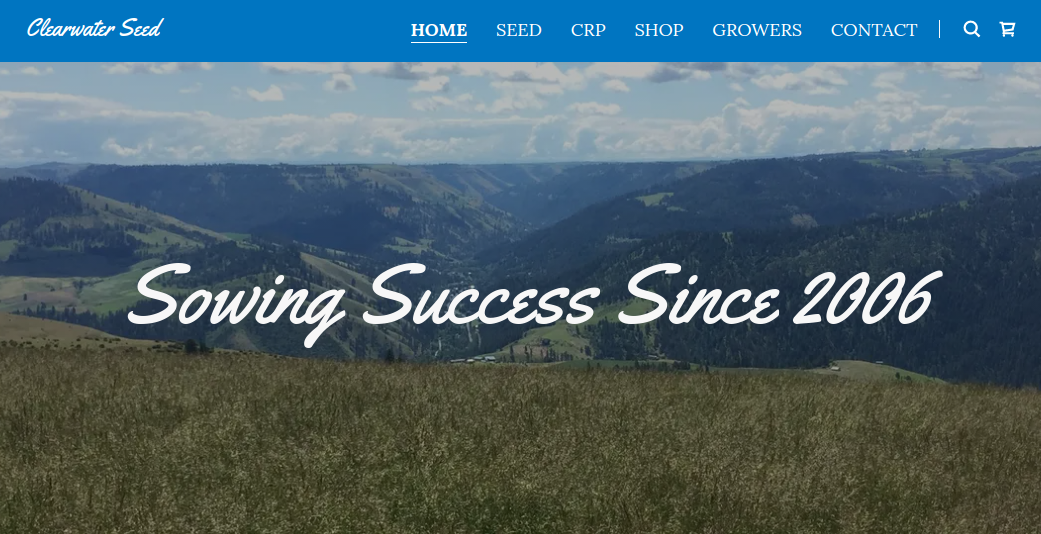 screenshot of the Clearwater Seed website