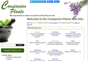 screenshot of the Companion Plants website