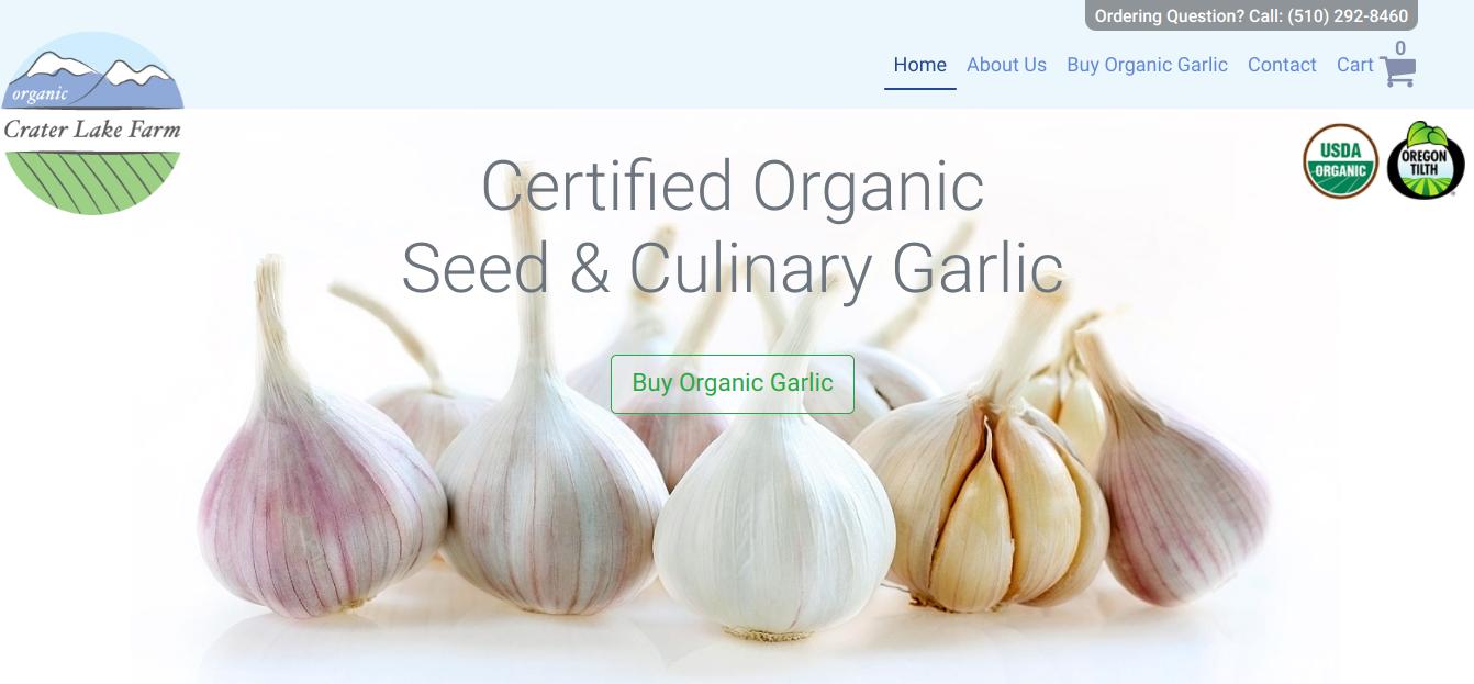 screenshot of Crater Lake Farm website