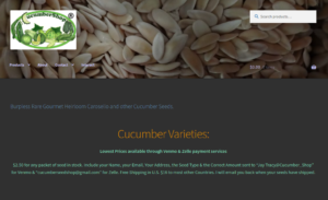 screenshot of Cucumber Shop website