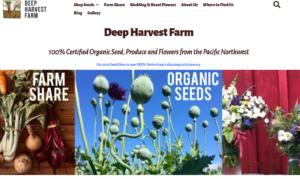 screenshot of Deep Harvest Farm and Seeds website