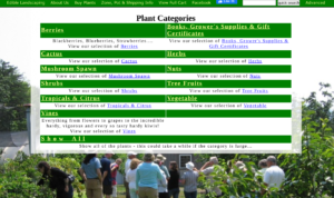 screenshot of Edible Landscaping website