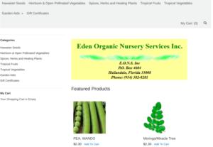 screenshot of Eden Organic Nursery Service website