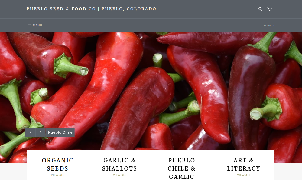screenshot of Pueblo Seed & Food Co. (Hobbs & Meyer Farms) website