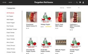 screenshot of Forgotten Heirlooms website