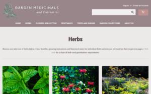 screenshot of Garden Medicinals and Culinariess website