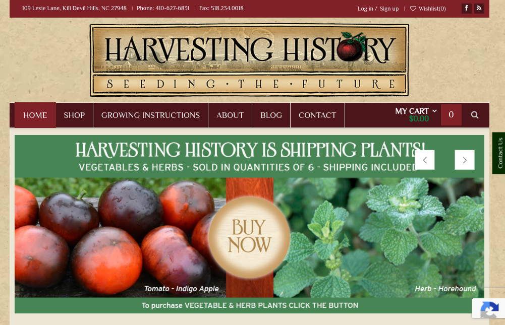 screenshot of Harvesting History website