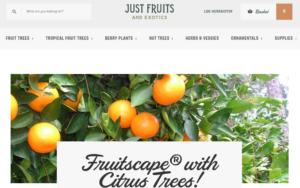 screenshot of Just Fruits and Exotics website
