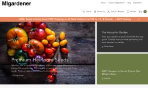 screenshot of MIgardener website