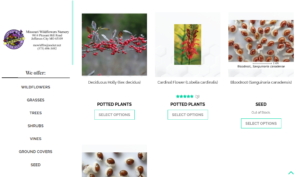 screenshot of Missouri Wildflower Nursery website
