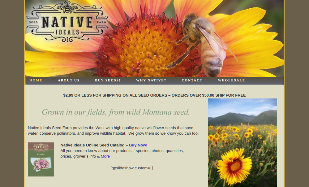 screenshot of Native Ideals Seed Farm website