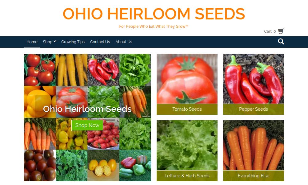 screenshot of Ohio Heirloom Seeds website