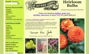 screenshot of Old House Gardens website