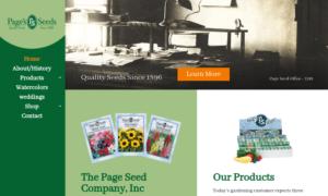 screenshot of Page's Seeds website