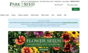 screenshot of Park Seed website
