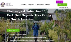 screenshot of Planting Justice website