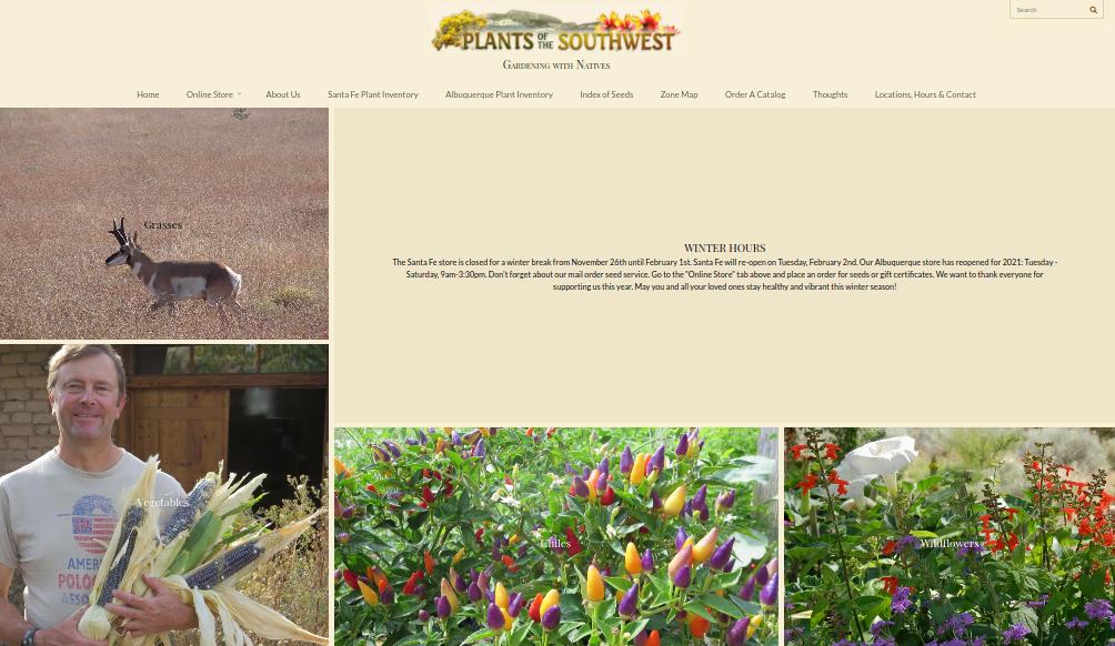 screenshot of Plants of the Southwest website