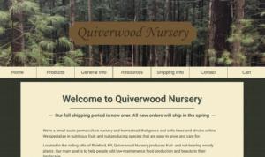 screenshot of Quiverwood Nursery website