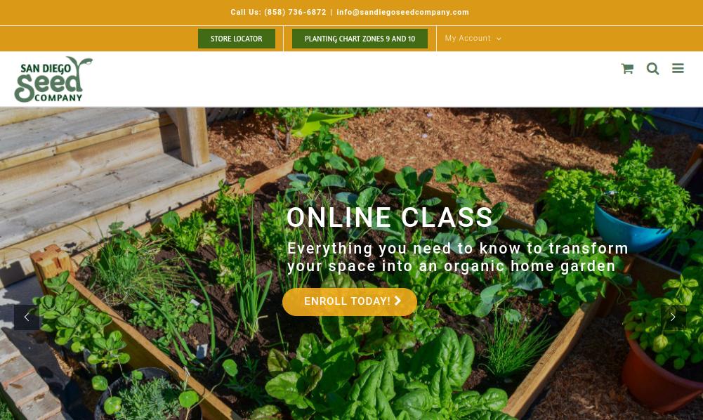 screenshot of San Diego Seed Company website