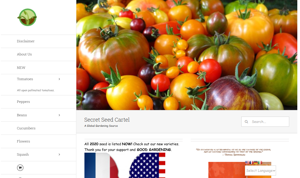 screenshot of Secret Seed Cartel website
