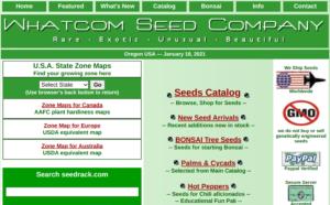screenshot of Whatcom Seed Company website