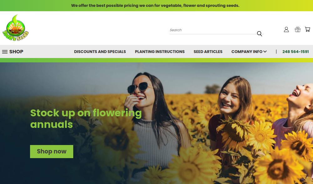 screenshot of Todd's Seeds website