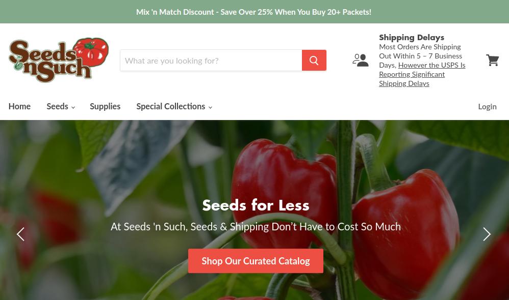 screenshot of Seeds 'n Such website