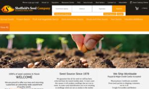 screenshot of Sheffield's Seed Company website