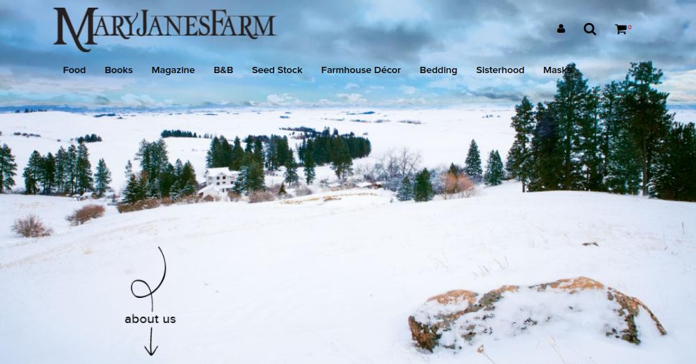 screenshot of Mary Janes Farm website