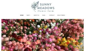 screenshot of Sunny Meadows Flower Farm website