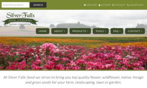 screenshot of Silver Falls Seed Company website