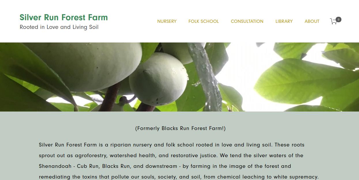 screenshot of Silver Run Forest Farm website