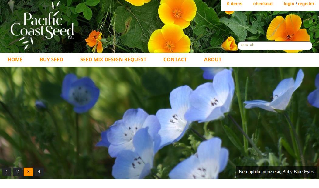 screenshot of Pacific Coast Seed website