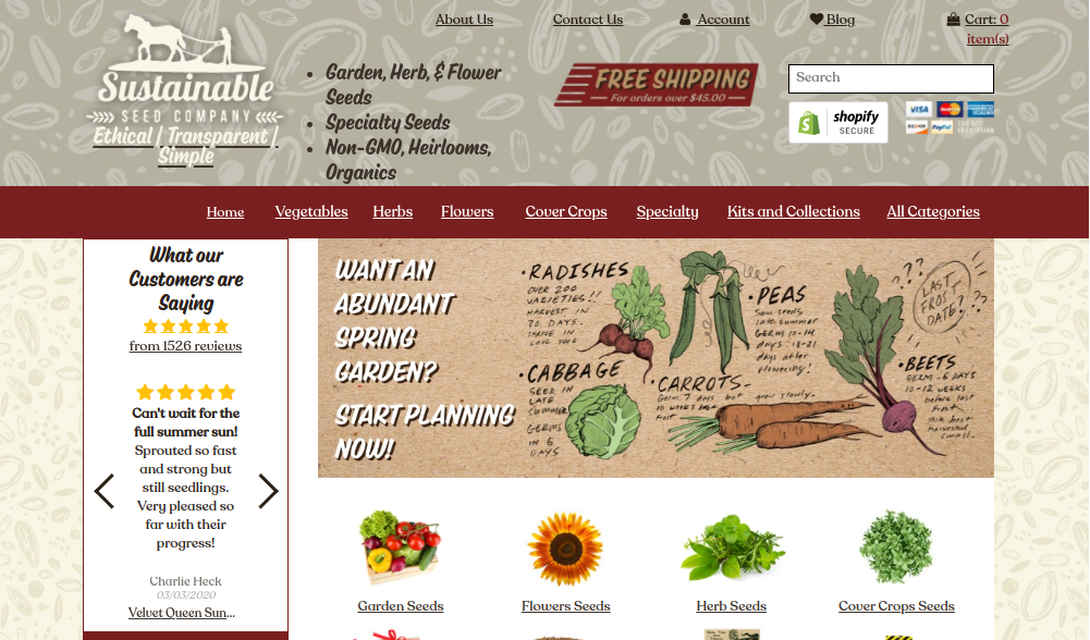 screenshot of Sustainable Seed Company website