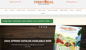 screenshot of Territorial Seed Company website