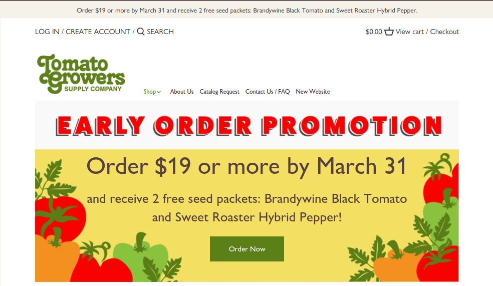 screenshot of Tomato Growers Supply Company website
