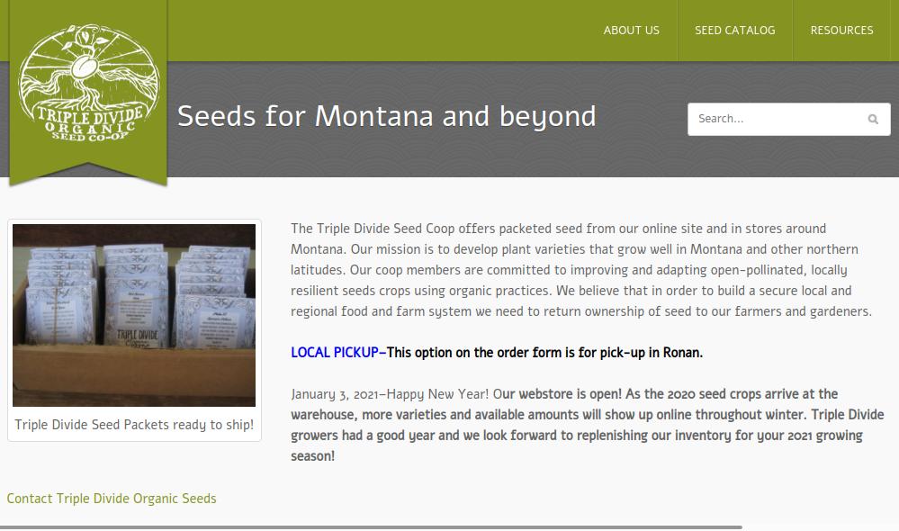 screenshot of Triple Divide Organic Seed Cooperative website