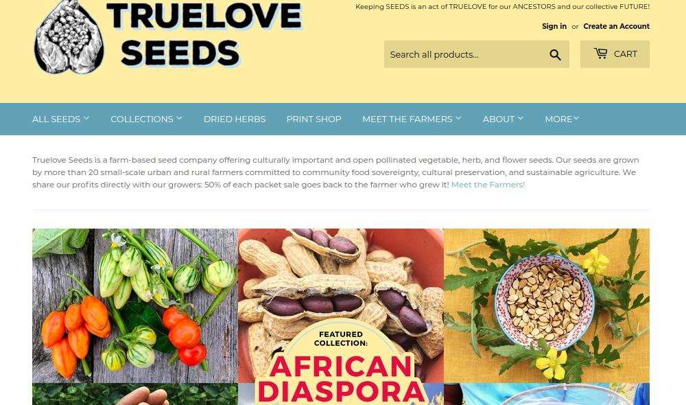 screenshot of Truelove Seeds website