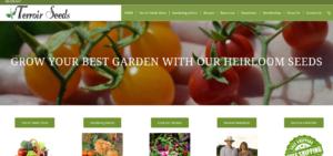 screenshot of Terroir Seeds LLC. Home of Underwood Gardens website