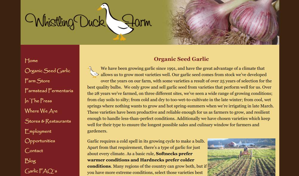 screenshot of Whistling Duck Farmwebsite