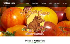 screenshot of Wild Boar Farms website