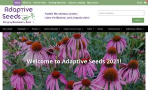 screenshot of the Adaptive Seeds website