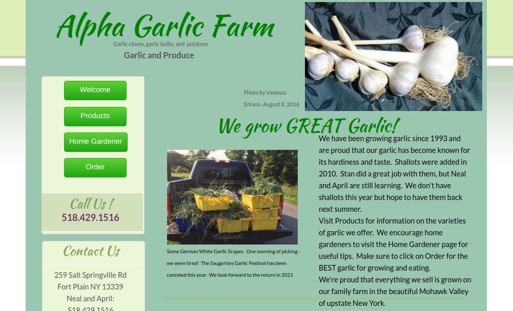 screenshot of Alpha Garlic Farm website