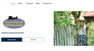 screenshot of Amishland Heirloom Seeds website