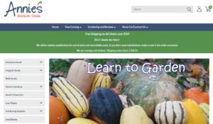 screenshot of Annie's Heirloom Seeds website
