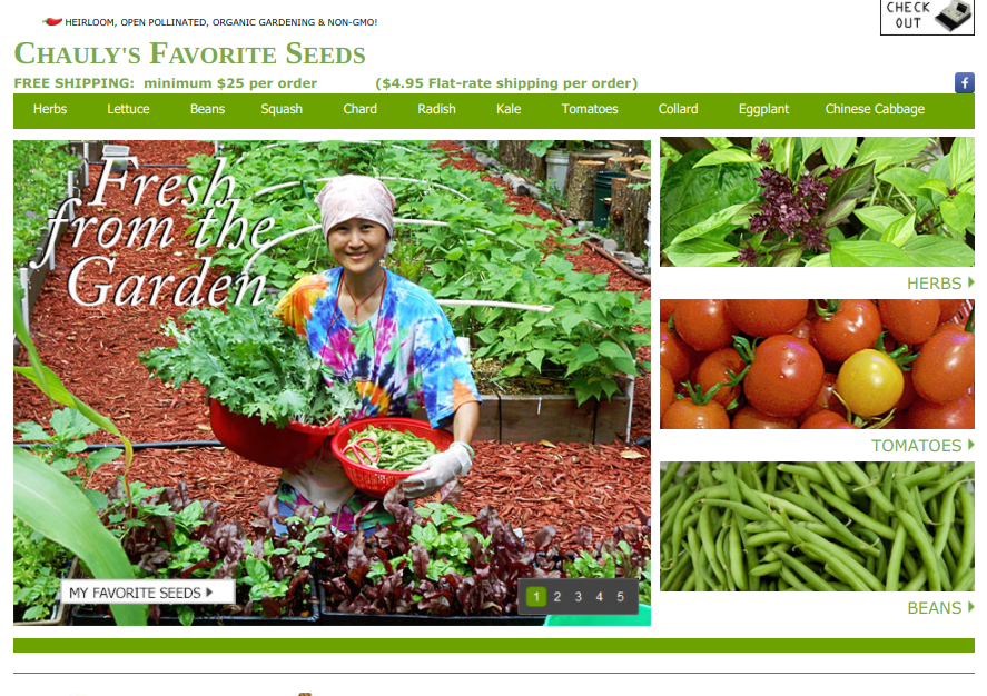 screenshot for Chauly's Favorite Seeds website