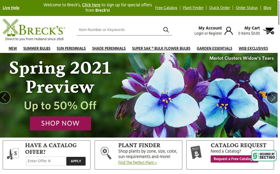 screenshot for Breck's website