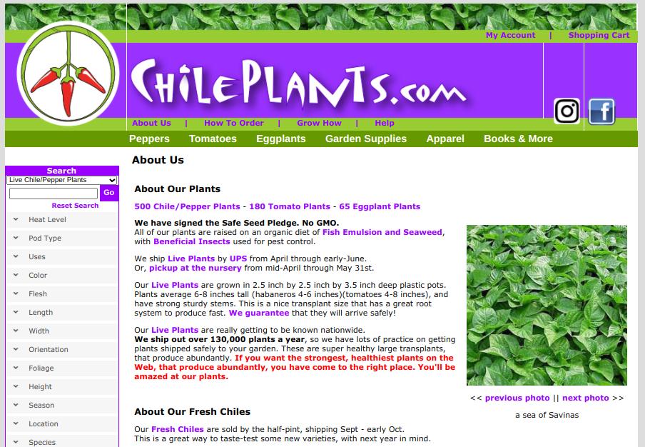 screenshot for ChilePlants website