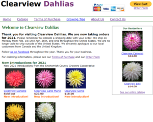 screenshot of the Clearview Dahlias website
